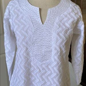White embroidered cotton kurta LONG VENT tunic NWT